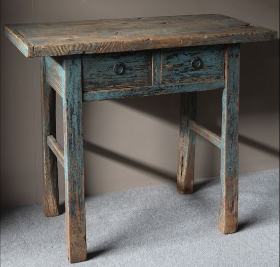 Wandtafel out hout blauw